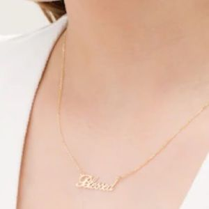 NEW ZALES Blessed Lettering 10K Gold Necklace